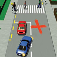 Picture of a car incorrectly passing near a pedestrian crossing