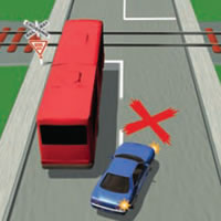 Picture of a car inccorrectly passing near a railway level crossing