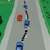 Picture showing a car passing another car on the right