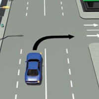Picture of car turning right into a one-way street
