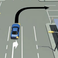 Picture of car turning right from a right-turn lane