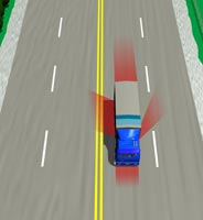 Picture showing truck driver's blind spots